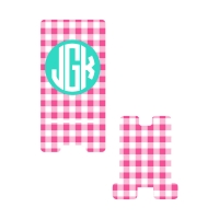 Personalized Pink Gingham Phone Stand