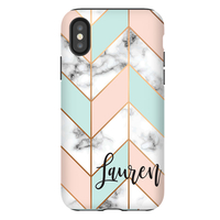Mint Peach Marble Chevron Personalized Phone Case