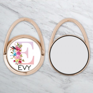Floral Monogram Personalized Phone Ring Stand - Phone Grip Rose Gold