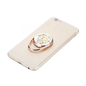 Peony Wreath Personalized Phone Ring Stand