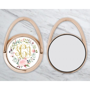 Peony Wreath Personalized Phone Ring Stand Rose Gold