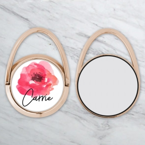 Watercolor Rose Personalized Phone Ring Stand - Phone Grip Rose Gold