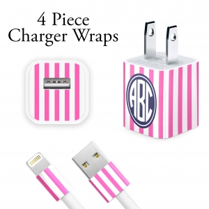 Stripes Personalized iPhone Charger Wraps